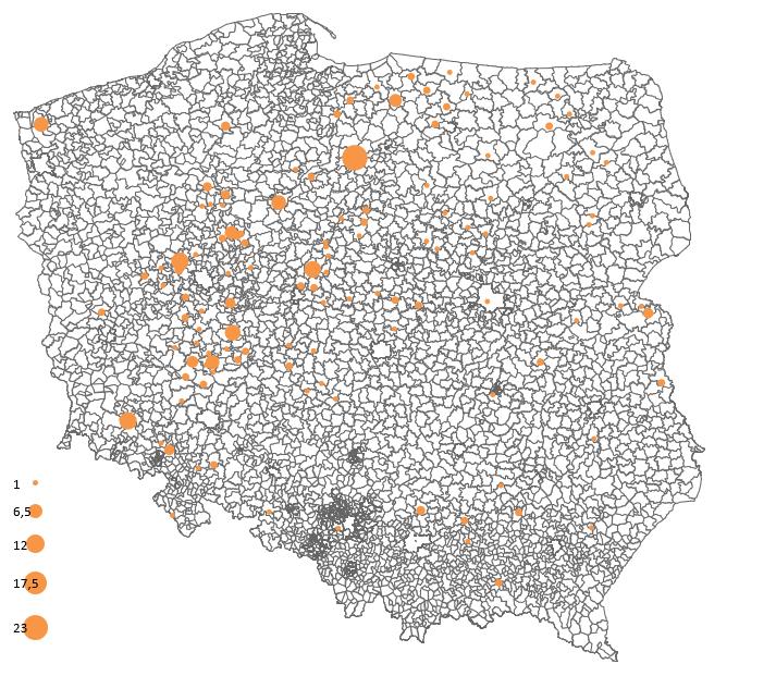 Dane LaboExpert De Heus: ilość gospodarstw w powiatach stosujących kiszonkę lucerny