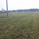 Użytek zielony po zimie przed ruszeniem wegetacji, widoczne zabudowania gospodarstwa