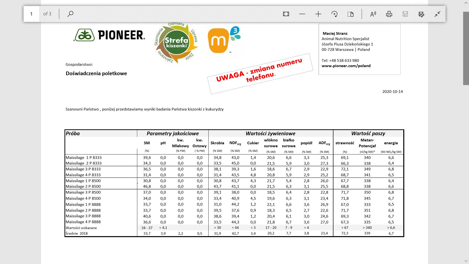 Fot. Przykładowe wyniki świeżej kukurydzy prosto z pola badanej u Klienta